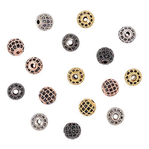 NBEADS 16 cuentas de circonita de latón, 4 colores de 8 mm, micro pavimentación de bolas de circonita cúbica para hacer joyas