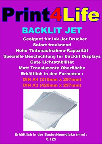 5 Blatt DIN A4 Backlit Jet Hinterleuchtfolie für Tintenstrahldrucker. Eine spezielle Folie für hinterleuchtete Bilder für den Einsatz als Lampenschirm, Windlichter, Laternen und Displays, die rückseitige Lichtquellen einsetzen, um mehr Leuchtkraft zu erreichen.