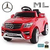 *2x MOTORES* Original Mercedes-Benz ML 350 4MATIC 4x4 License Coche con Motor y Batería de coches para niños (rojo)