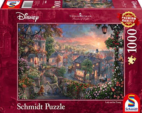 Schmidt Spiele Puzzle 59490 Thomas Kinkade, Disney, Susi und Strolch, 1000 Teile Puzzle, bunt