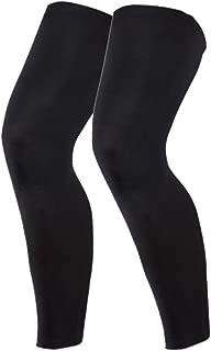 MAKLULU Compression Leg Sleeves, 1 Pair for Men, Women - Full Length Stretch Long Sleeve, Non-Slip Inner Bands-L(Black)