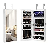 SONGMICS Narrow-Edge Mirror Jewelry Cabinet Armoire, 6 LED Lights Jewelry Organizer, Wall-Mounted and Door-Hanging, Full Body Larger Mirror, White UJJC65WT