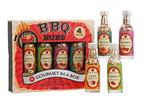 Modern Gourmet Foods - BBQ Gewürz Geschenkset - 4 individuelle Grillreiben Für Ihre Grillparty - Leckere Gewürzmischungen
