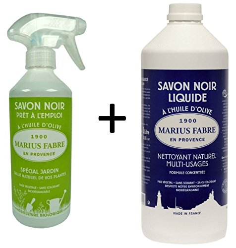 Marius Fabre VORTEILSPAKET: 1 Sprühflasche Savon Noir für den Pflanzenschutz (fertig gemischt) 500 ml + 1 Liter Nachfüllflasche Schwarze Seife pur