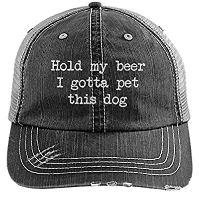 PIRDA Hold My Beer I Gotta PET This Dog Women's HAT - Distressed Men's Trucker Cap Funny Saying