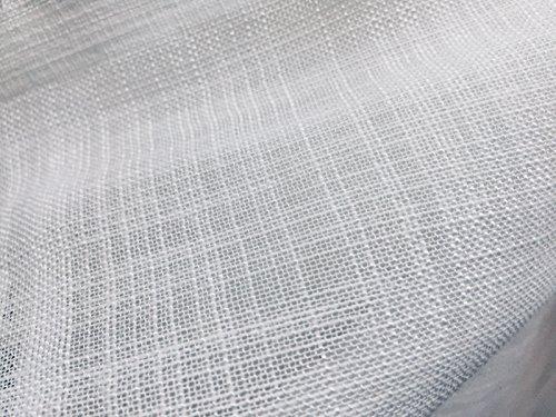LushFabric Lino Bianco Look Inbetween Voile Tulle Organza Tessuto per Matrimoni, Decorazioni per la casa, Tende Rete Tenda Pura - 300cm Extra Largo (Venduto al Metro)