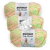 Bernat Baby Blanket Yarn - 3.5 oz - 3 Pack with Pattern Cards in Color (Little Sunshine)