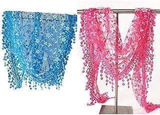 Minejin Women Hollow Lace Tassel Floral Print Triangle Mantilla Scarf 2Pack