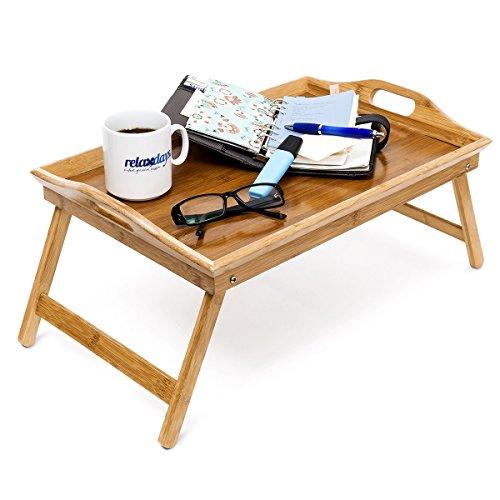 Relaxdays Tablette de Lit pliable Plateau Petit Déjeuner au Lit pliant en bambou laqué bois H x l x P: 25 x 52 x 33 cm avec poignées transport table appoint table de service, nature