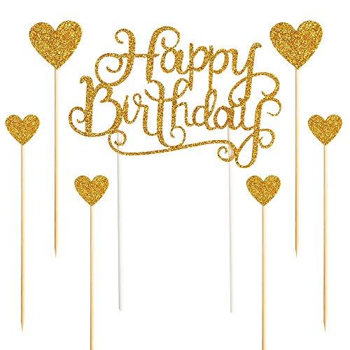 Palasasa Happy Birthday Kuchendekoration, goldene Glitzer-Buchstaben