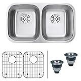 Ruvati 32-inch Undermount 50/50 Double Bowl 16 Gauge Stainless Steel Kitchen Sink - RVM4300
