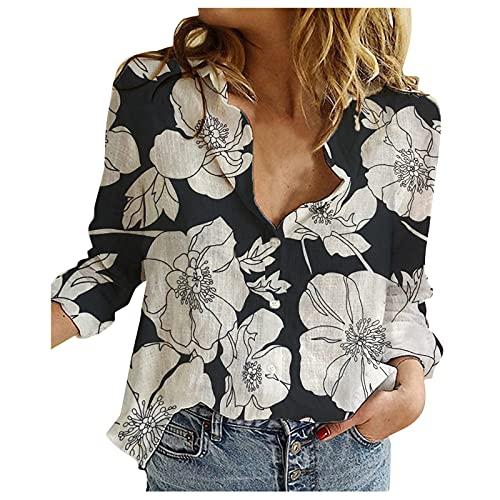 Briskorry Dames retro bloemenprint blouse herfst lente V-hals lange mouwen linnen hemd bovenstuk losse tuniek met omslagkraag mode casual pendelhemd pullover