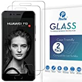 Pevita Protector de Pantalla para Huawei P10 [2 Packs]. Case Friendly. Dureza 9H, Sin Burbujas, Fácil Instalación. Protector de Pantalla de Cristal Templado Premium para Huawei P10