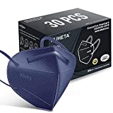 HUHETA KN95 Face Mask, 30 Pack Individually Wrapped, 5-Ply Breathable & Comfortable Safety Mask, Filter Efficiency=95%, Protective Cup Dust Masks Against PM2.5 (Royal Blue Mask)