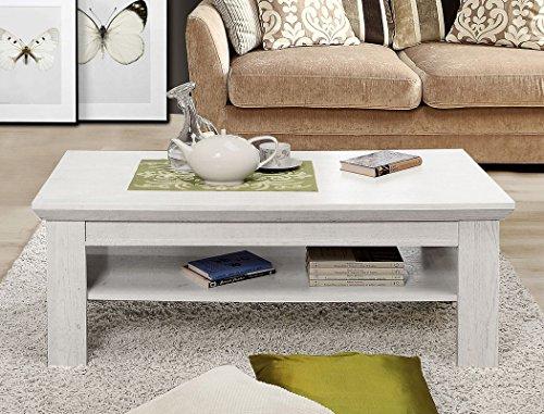 expendio Couchtisch Kasimir 9 Pinie weiß 120x60x45 cm Sofatisch Beistelltisch Tisch Wohnzimmertisch Landhausmöbel Landhausstil