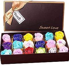 Idea Regalo - Txyk Sapone 18PCS Fiore di Rosa - Sapone profumato alla Flora Fiore di Rosa - Sapone di Olio Essenziale vegetale, Regalo per Anniversario/Compleanno/Matrimonio/Scatola di San Valentino (Multi Colori)