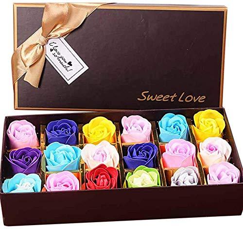 Txyk 18PCS Jabón Rose Flower - Flora Jabón perfumado Rose Flower - Jabón de Aceite Esencial de Plantas, Regalo para Aniversario/cumpleaños/Boda/día de San Valentín