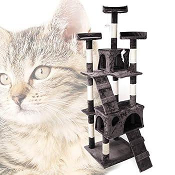 WilTec Arbre à Chat en Gris 170cm avec cabanes, échelles et Plates-Formes pour Chats
