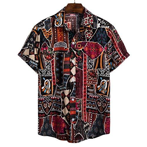Chemise hawaïenne vintage à manches courtes imprimée florale, boutonnée, coupe ample pour l\'été et la plage décontractées - Multicolore - XXL