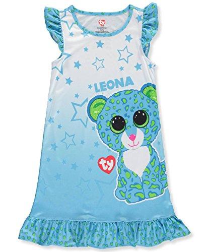 Beanie Boos Girls Leona Ruffle Nightgown Blue Night Shirt (Small (6-6X))