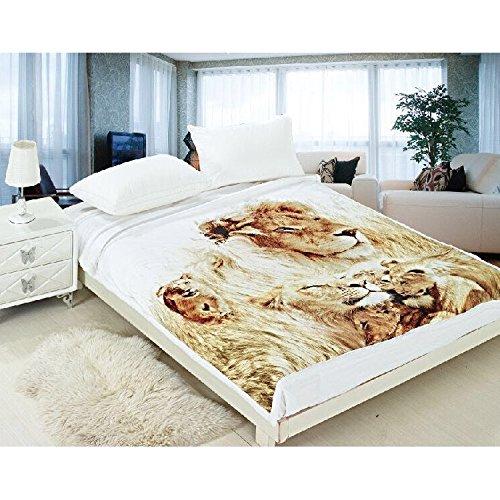 all4all Tagesdecke Wohndecke Bettüberwurf Kuscheldecke Decke160x200 Mikrofaser Fotodruck (Löwe)