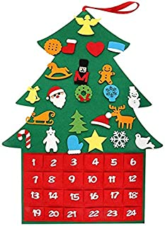 A-KEY Felt Christmas Tree Advent Calendars for Kids, 24 Day Countdown to Christmas Calendar Advent with Pockets Xmas Gifts for Kids Wall Hanging Decoration