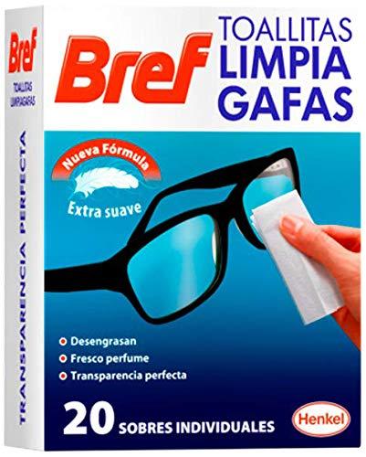 Bref Toallitas Limpiadoras para Gafas, Smartphones, Cámaras, Espejos y otros Dispositivos y Superficies 20 Unidades