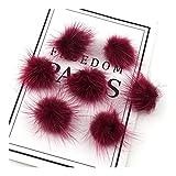 HONGTAI 10 Piezas de Pompones, Bolas de Pelo, Anillos, llaveros, Zapatos, Sombreros, Mullido Pompones, artesanías y Accesorios Materiales (Color : Wine Red, Size : 2.5cm 2pcs)
