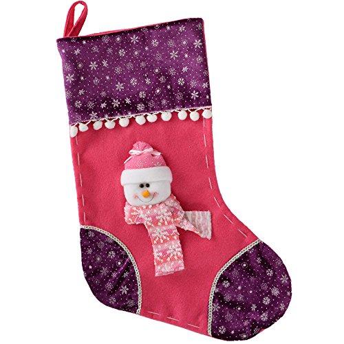 WeRChristmas - Calza natalizia da 48 cm con decorazione pupazzo di neve, colore rosa/viola