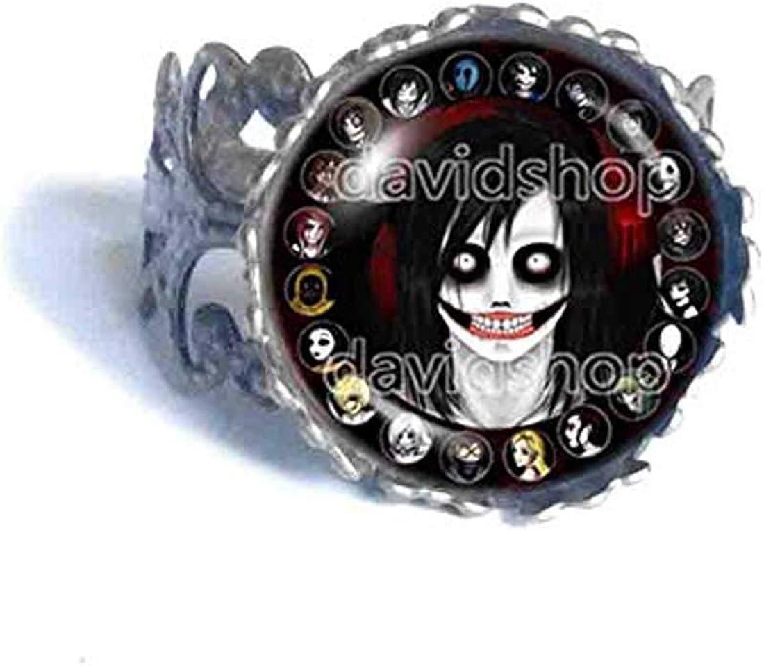 Handmade Fashion Jewelry Creepypasta Creepy Pasta Jeff The Killer Ring Cosplay Black White