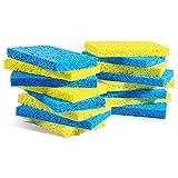 MASTERTOP 16Pcs / Pack Esponja de Celulosa Biodegradable Natural para Cocina Esponjas de Lavavajillas Multifuncionales,Esponja de Pulpa de Madera Ecológica para Garaje, Cocina, Baño,Amarillo y Azul