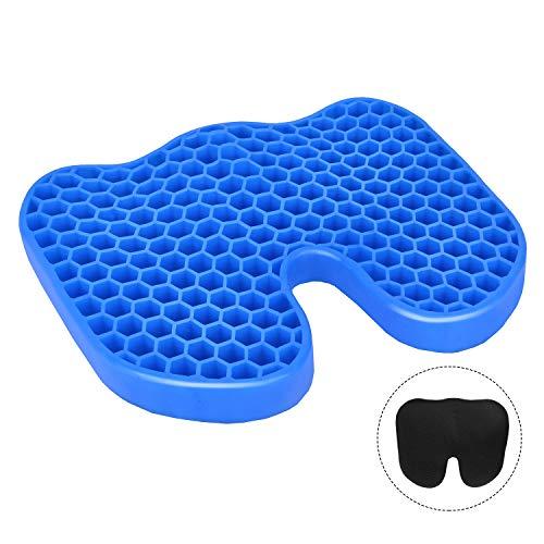 Leader Accessories Gel-Sitzkissen kühlendes Waben-Design Linderungsgelpad Flexibles Gedächtnisschaumstoff ergonomische Sitzunterlage waschbarer Bezug schwarz 42X33X4cm