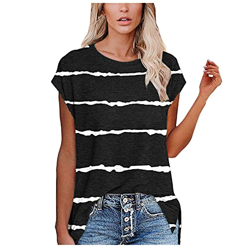 Women's Pleated Tunic Tops Solid Color Loose Swing Flowy Shirt Casual Round Neck Button Up Short Sleeve Blouse Womens Long Sleeve Shirt Womens Black Tops Womens Plus Size(#2-Black,S)