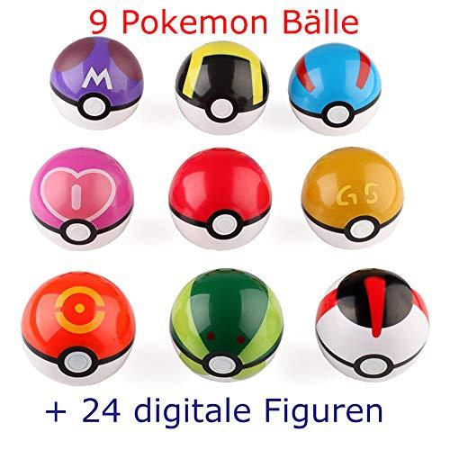 Lsxszz8 Pokemon Spielzeug, 9 Stück Pokémon Ball+24Stück Pokemon Action Figuren, Pokemon Balls with Figures