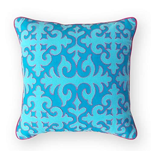 VLiving Funda de almohada turquesa, estampado marroquí, ribete azul brillante y bordado, 100% algodón, bohemio, tribal (61 x 60 cm), color azul.