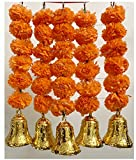 SPHINX Artificial Marigold Fluffy Flowers And Hanging Bells Short Toran (Dark Orange, 5 Pieces)