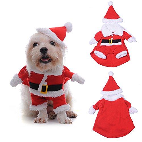 Sundautumn Vetement Manteau Noel pour Chien 3D Costume Pere Noël pour Chien avec Chapeau Noël Mignonne (XS)