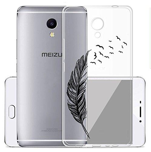Sunrive Cover per Meizu M5S 5,2 Pollici, Custodia Case in Molle Trasparente TPU Silicone Morbida Flessibile Pelle AntiGraffio Protettiva(TPU Piuma)