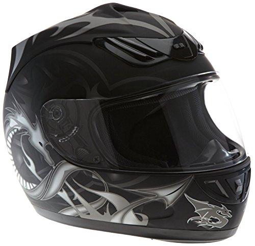 Protectwear H510-11SW-L Motorradhelm, Integralhelm mit Drachendesign, Größe L, Schwarz/Silber