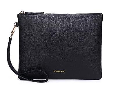 Soft Lambskin Leather Wristlet Clutch Bag For Women Designer Large Wallets With Strap