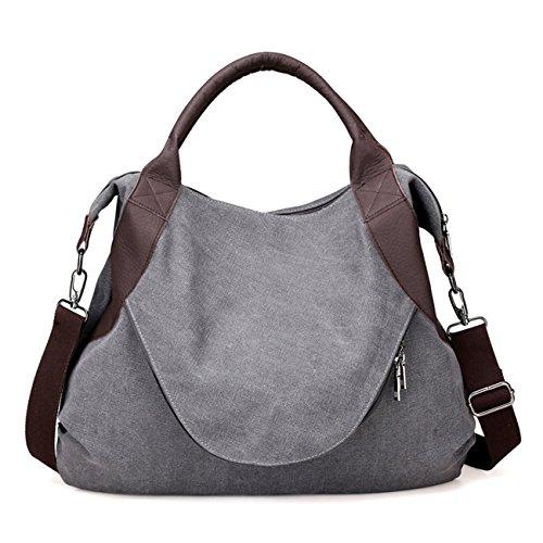 THEE Damen Retro Canvas Schultertasche Handtasche Einkaufstasche Messenger Tasche