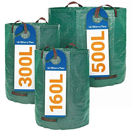Sacos de jardín GloryTec 3 tamaños diferentes - 3 Bolsas de jardín Premium - Bolsas para la basura del jardín estables, hechas de tela de polipropileno extremadamente resistente (PP) 150 gsm