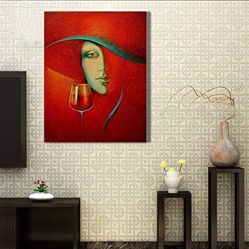 wZUN Hermosa Pintura al óleo del Arte Abstracto para la decoración del hogar Lienzo Moda Hermosa Dama Pintura al óleo Pintura Colgante 40x60 Sin Marco