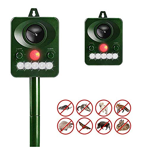 CHUTD Dispositivo de expulsión Solar Luz infrarroja Intermitente Repelente ultrasónico de Animales y plagas Repelente de pájaros Impermeable al Aire Libre Repelente Lindo para Granja Rancho jardín