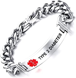 Free Engraving- Stainless Steel High Polished Cuban Chain Medical Alert ID Bracelets Men, Comfortable Skin