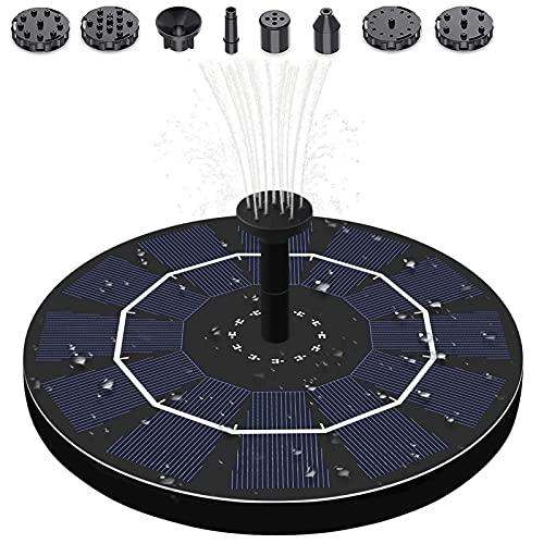 HYM Solarbrunnenpumpe 2w Kreis Garten Schwimmende Solarbetriebene Wasserpumpe Mit 6 Düsen Für Outdoor-vogelbad, Teiche, Pool, Fischtank
