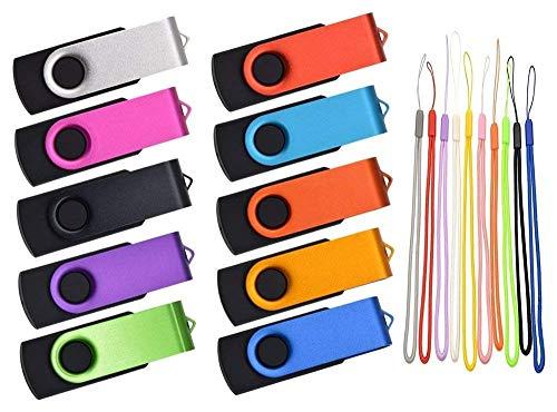 32GB Chiavetta USB 10 Pezzi Pennetta USB 2.0 - Kepmem Multicolorato Pendrive Girevole Penna USB 32 GB Metallo Memoria Stick Ottimo Portatile Chiave USB con Cordino Libero Economica Funzionali Regalo
