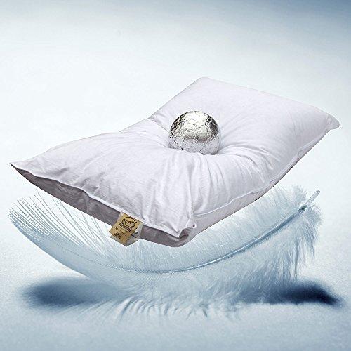 Milano - Almohada de plumas de oca (30% de plumones de oca y 70% de plumas de oca, relleno de 850 g, 100% algodón)
