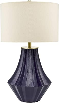 "Catalina Lighting 21758-000 Modern Ribbed Gourd Table Lamp with Brass Accents, 30"", Deep Blue"