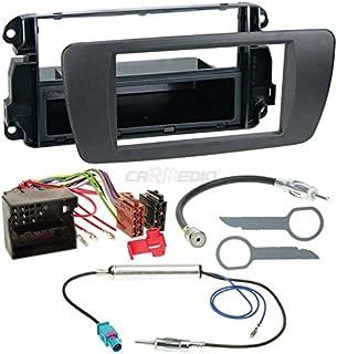 Carmedio Seat Ibiza 6J ab 08 1 DIN Autoradio Einbauset in original Plug&Play Qualität mit Antennenadapter Radioanschlusskabel Zubehör und Radioblende Einbaurahmen Nitschwarz